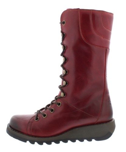3586df7f37de Fly London Ster Red Lace Up Leather Wedge Heel Military Calf Boots -  KissShoe