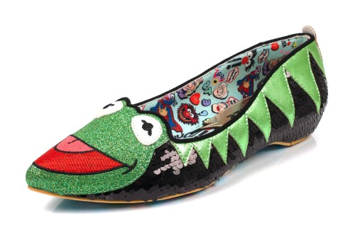 Irregular Choice Muppets Kermit The Frog Black Sequin Flat
