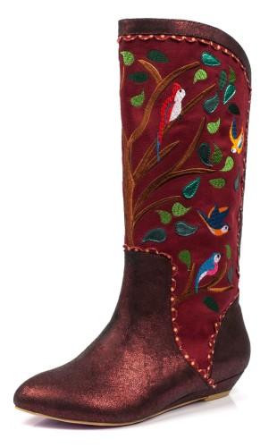 85d20bf6d446 Irregular Choice Septima Red Burgundy Embroidered Bird Low Heel Calf Boots  - KissShoe