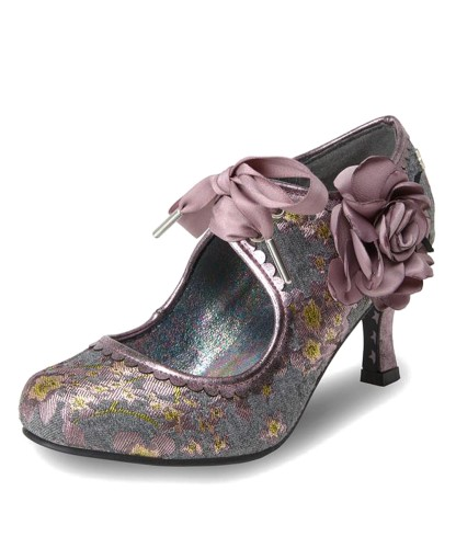 850fd813723 Joe Browns Orla Grey Lilac Floral Tweed High Heel Lace Up Shoes
