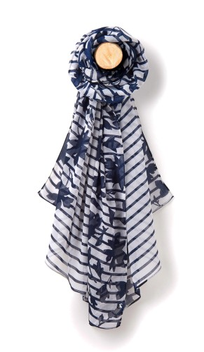 Joules Wensley Scarf Navy Border Floral Stripe Women S