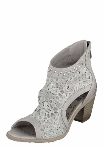 Mustang 1221 802 Grey Women S Peep Toe Lace Ankle Boots