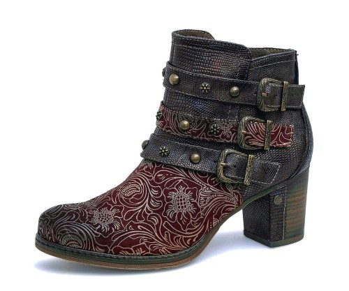 32a4162120e Mustang 1286-504 Bordeaux Burgundy Floral High Heel Ankle Boots - KissShoe