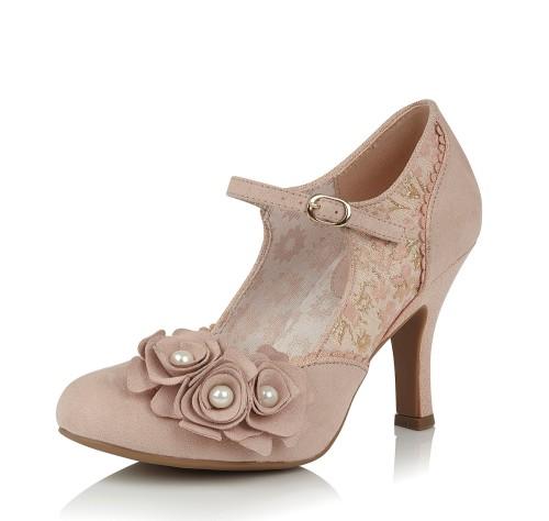 Ruby Shoo Antonia Rose Gold High Heel Mary Jane Shoes