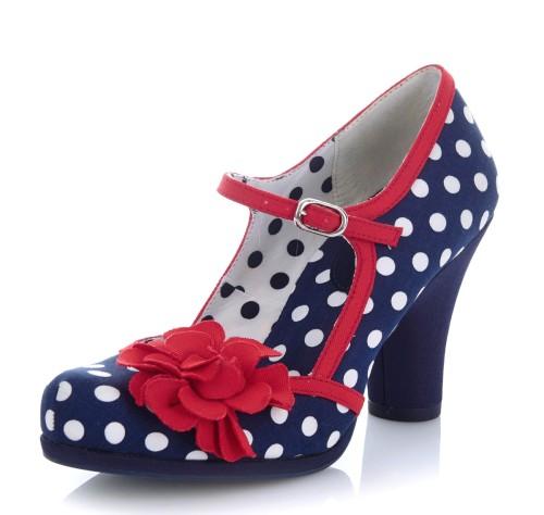 109c1e805a Ruby Shoo Hannah Navy Spots Polka Dot High Heel Mary Jane Shoes - KissShoe