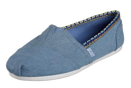 6a9291825b2a Skechers Bobs Plush Powwow Denim Blue Memory Foam Flat Shoes - KissShoe