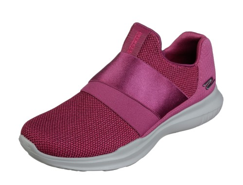 Skechers Go Run Mojo Mania Pink Slip On Trainers Shoes