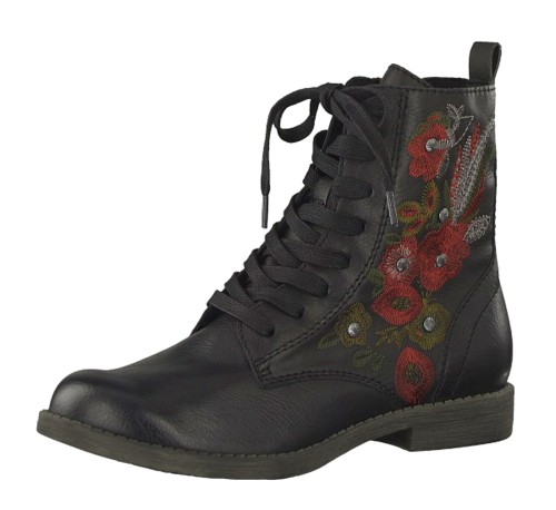 ca3d1f56c369 Tamaris 25114 Black Red Floral Embroidered Lace Up Flat Ankle Boots -  KissShoe