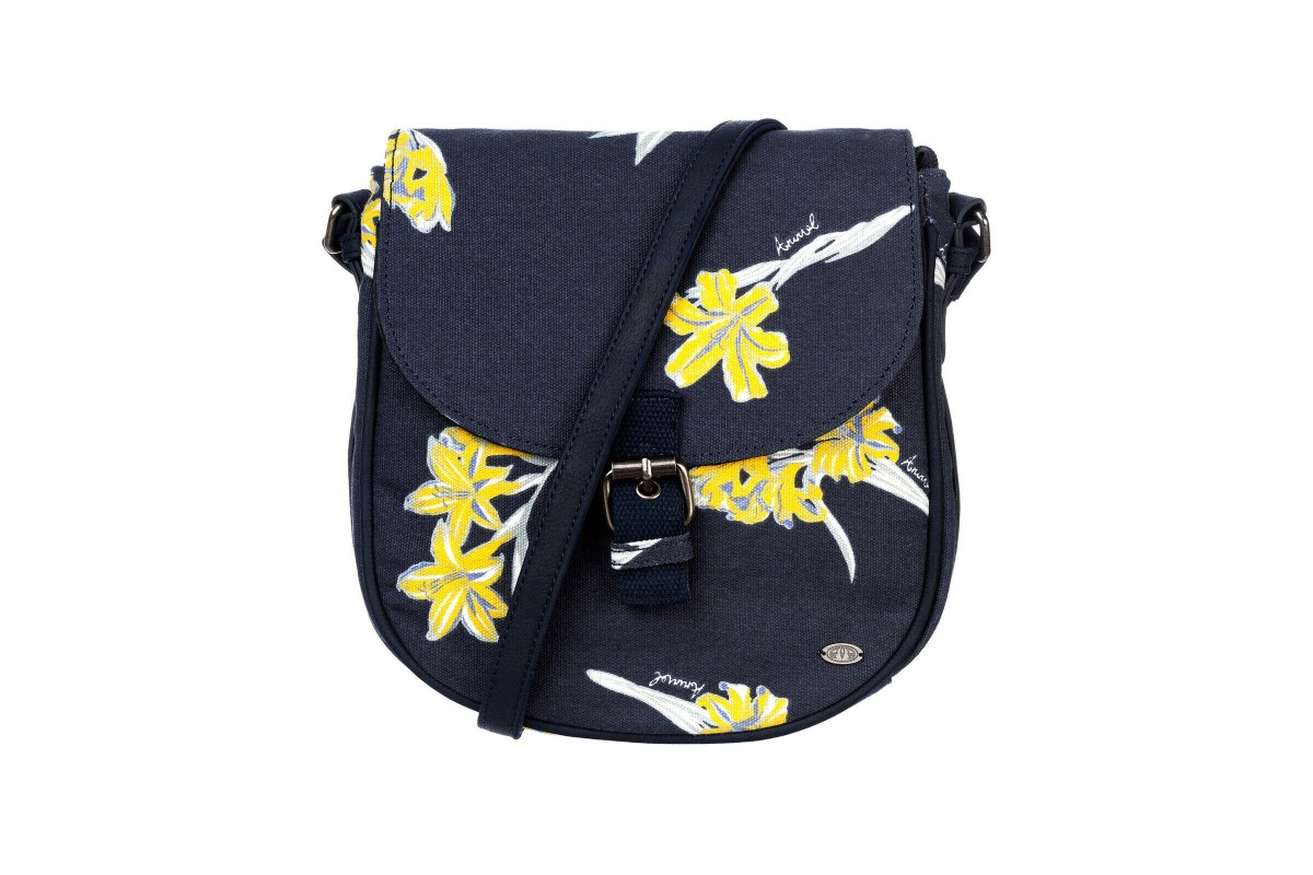 Animal Cori India Ink Blue Yellow Navy Floral Cross Body Shoulder Bag