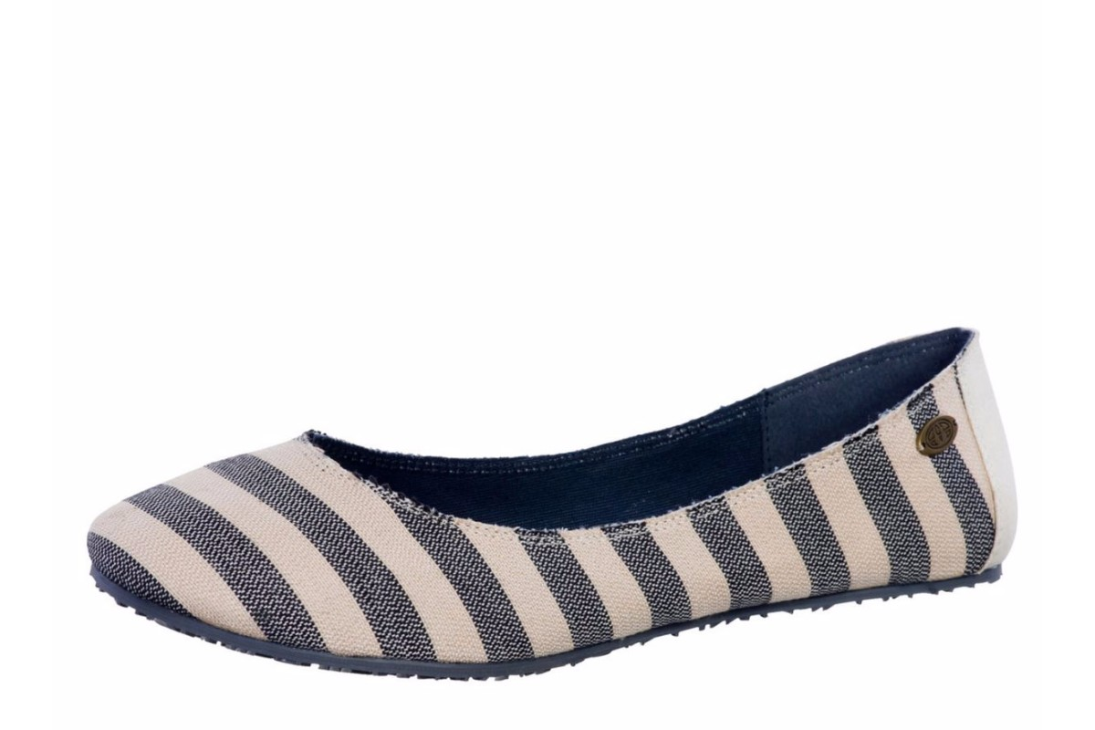 Animal Kirsty Navy Cream Stripe Pumps Womens Flat Shoes