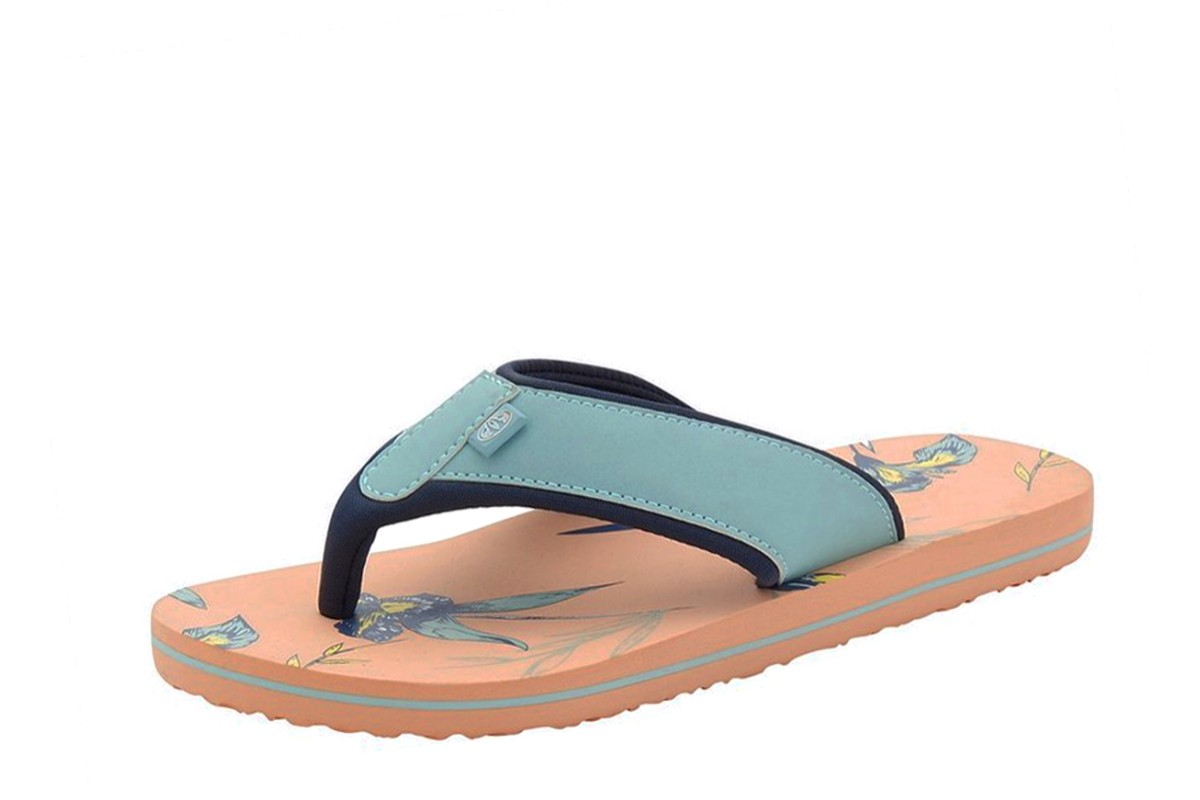 Animal Swish AOP Sunset Pink Peach Navy Floral Print Flip Flops