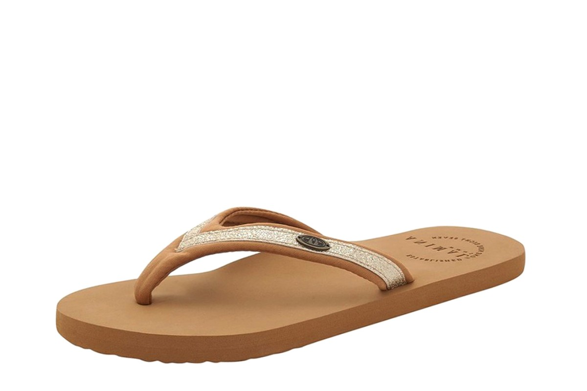 Animal Swish Slim Toffee Apple Brown Tan Gold Flip Flops
