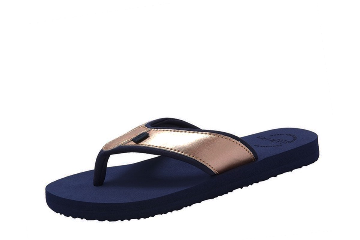 Animal Swish Upper Mid Navy Blue Rose Gold Flip Flops