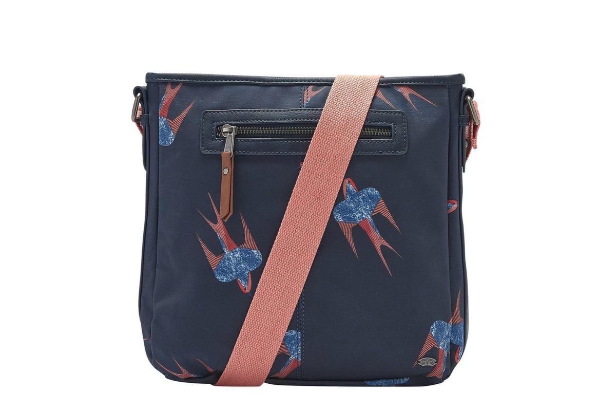 Animal Uplift Indigo Navy Blue Coral Bird Print Cross Body Shoulder Bag