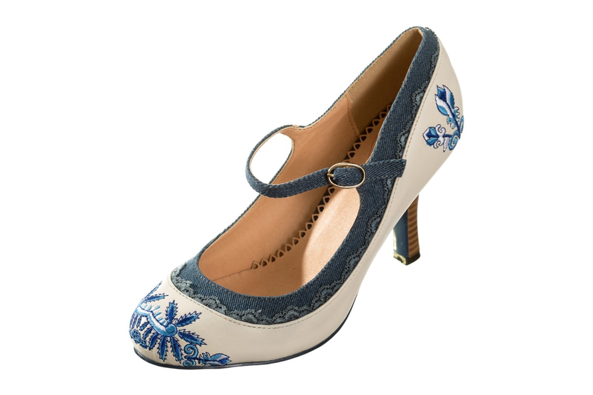 Banned Beautiful Dreamer White Blue Floral Embroidered High Heel Mary Jane Shoes