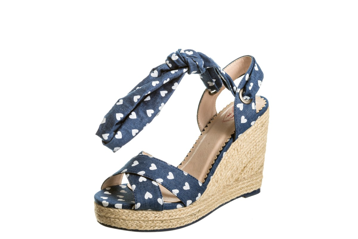 Banned Poppie Blue Denim Heart Print High Heel Ankle Strap Wedge Sandals
