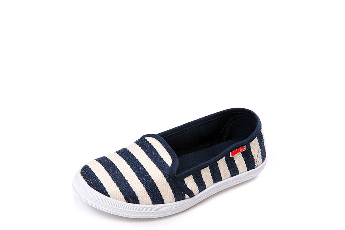 Beach Athletics Myrtos Women's Navy Stripe Flat Plimsoll Shoes