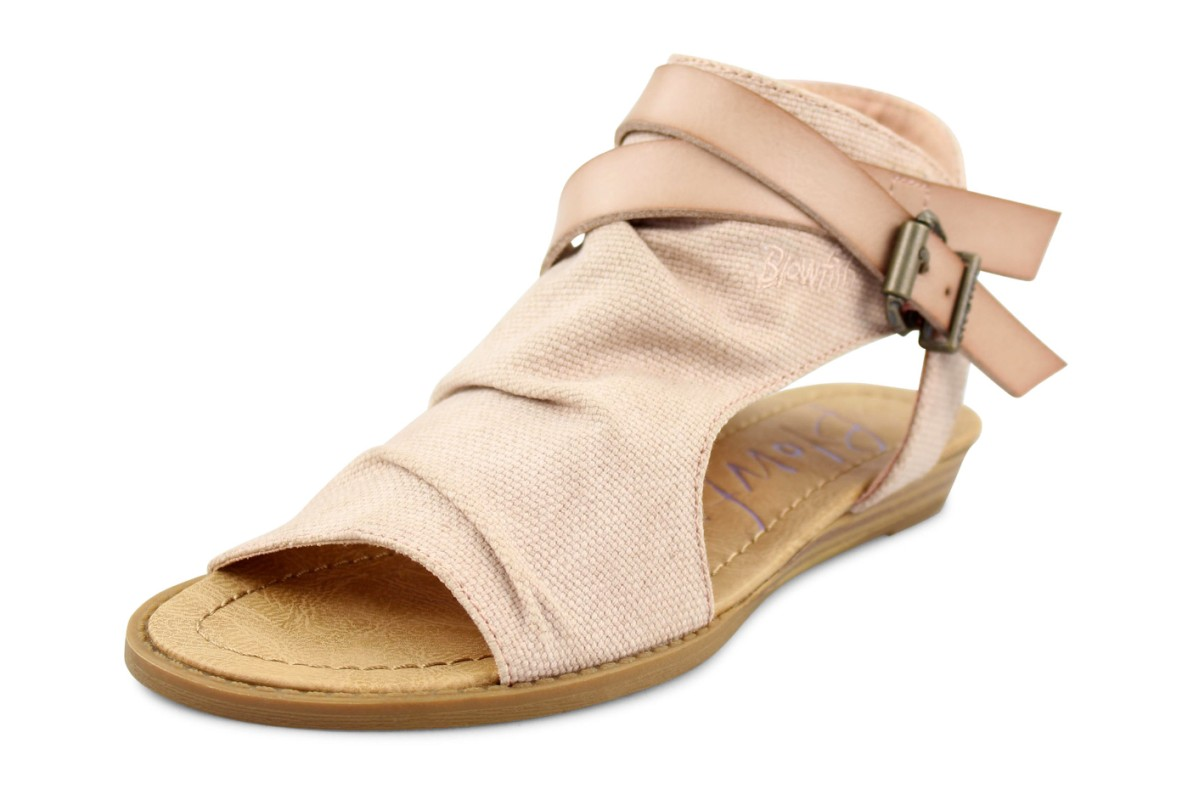 Blowfish Balla Blush Pink Rancher Canvas Low Wedge Sandals