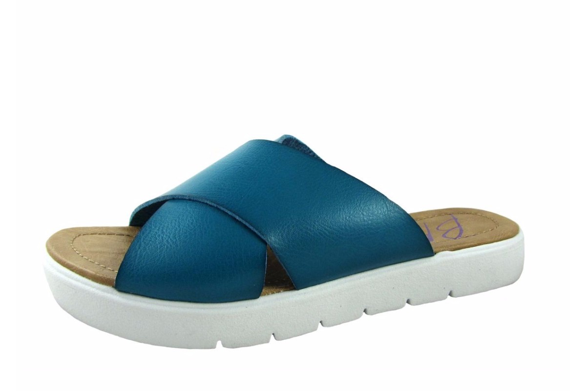 Blowfish Basya Blue Lagoon Dyecut Flat Slide Platform Sandals