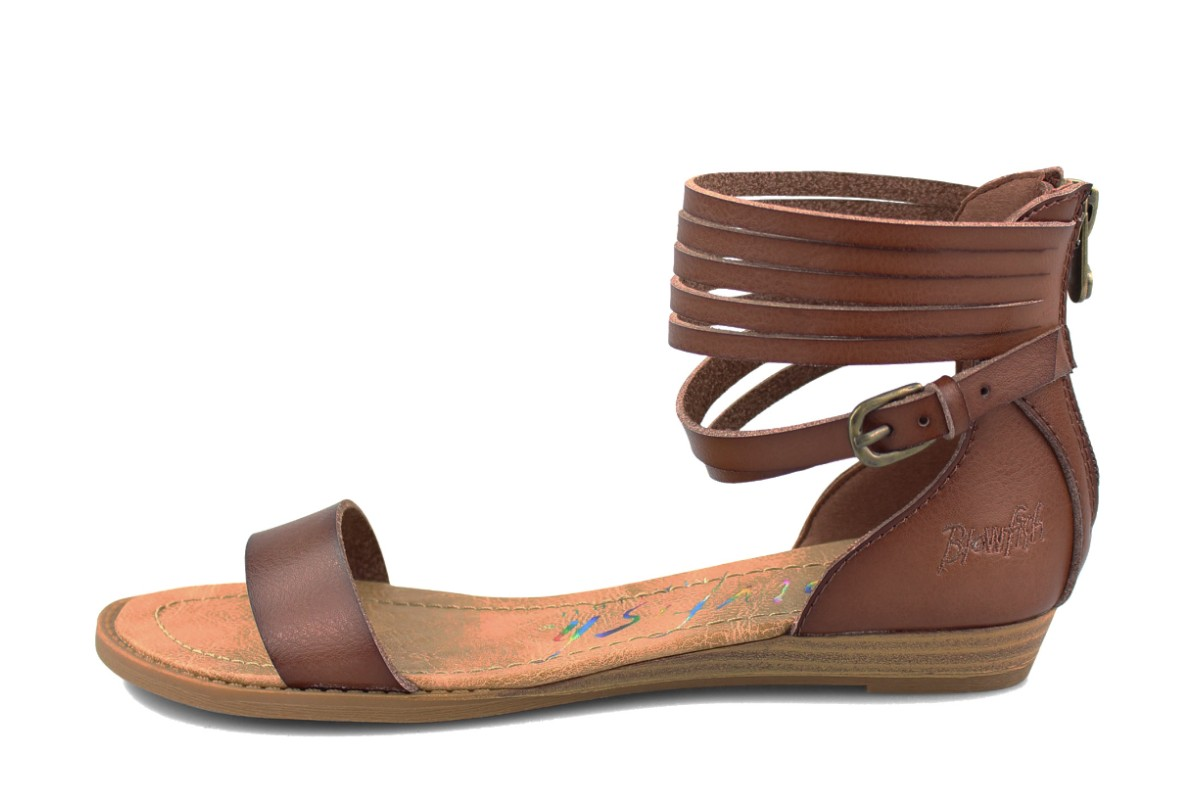 Blowfish Becha Clay Dark Brown Ankle Strap Flat Open Toe Sandals