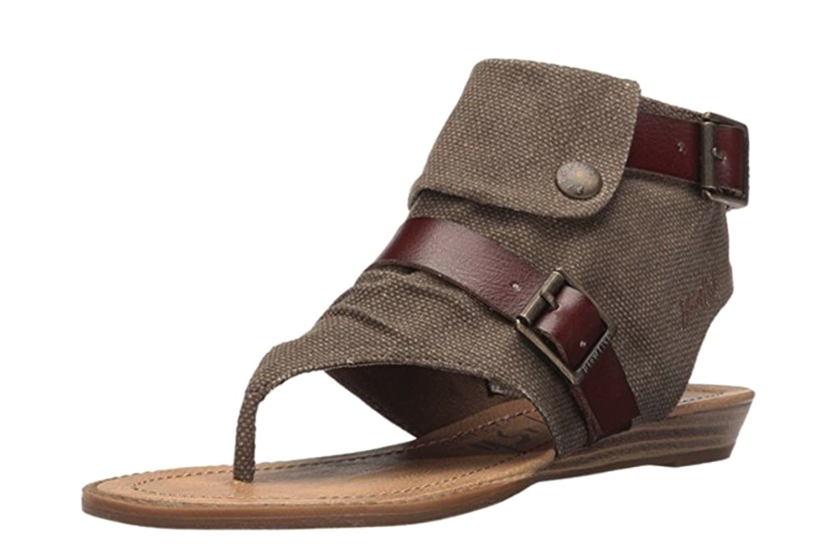 Blowfish Blume Brown Rancher Canvas Whiskey Women's Open Toe Sandals