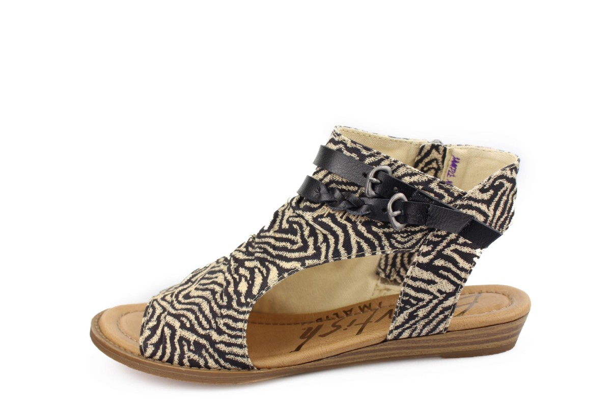 Blowfish Blumoon Zebra Safari Black Textile Low Wedge Vegan Sandals