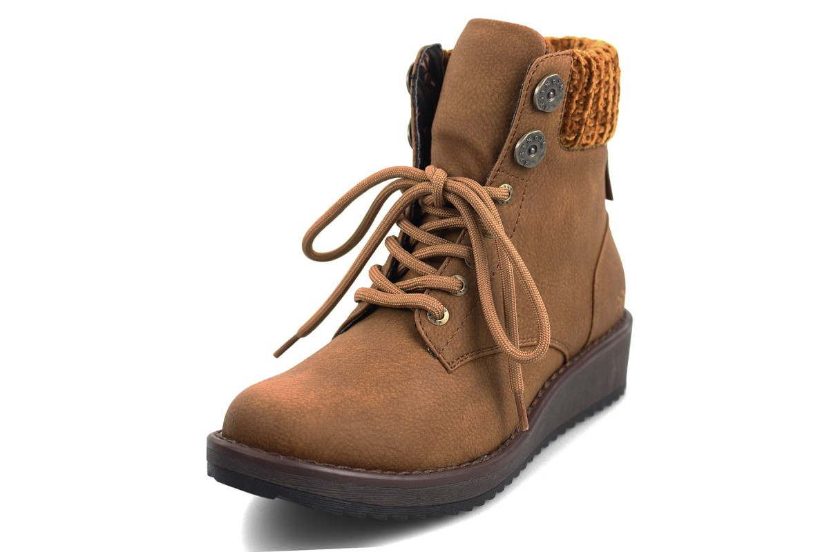 Blowfish Chomper Wheat Tan Lace Up Low Wedge Heel Vegan Ankle Boots