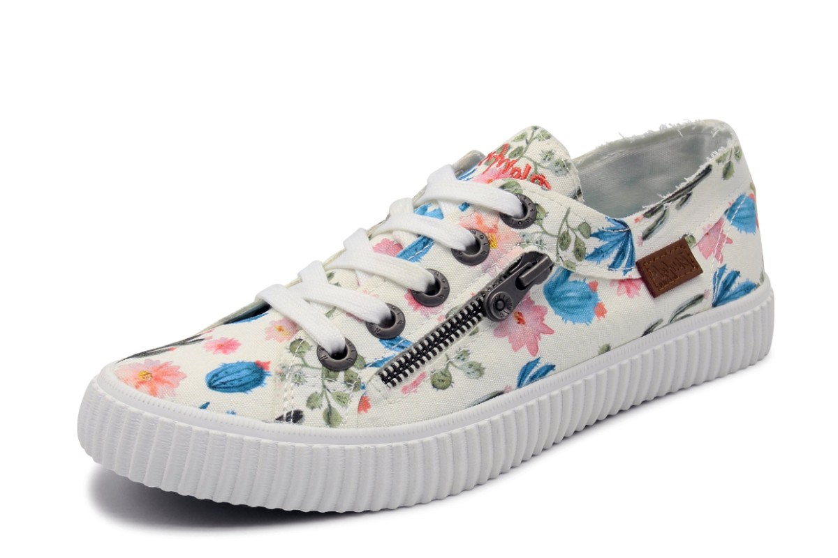 Blowfish Coyote White Prickly Print Cactus Floral Lace Up Womens Canvas Trainers