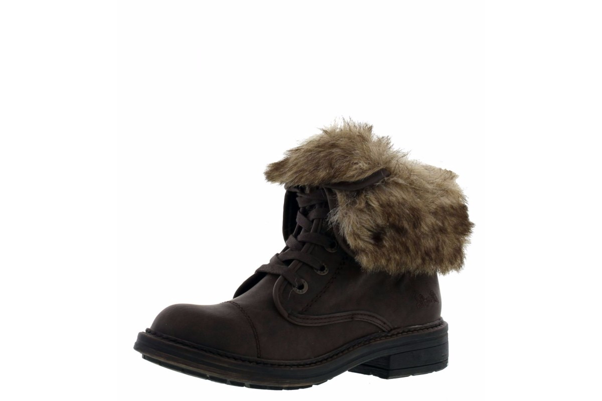 Blowfish Farina SHR Brown Texas Faux Fur Lace Up Ankle Boots