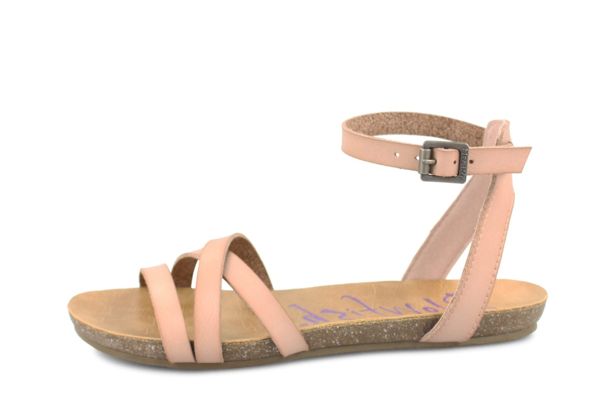 Blowfish Galie Blush Ankle Strap Flat Faux Leather Sandals
