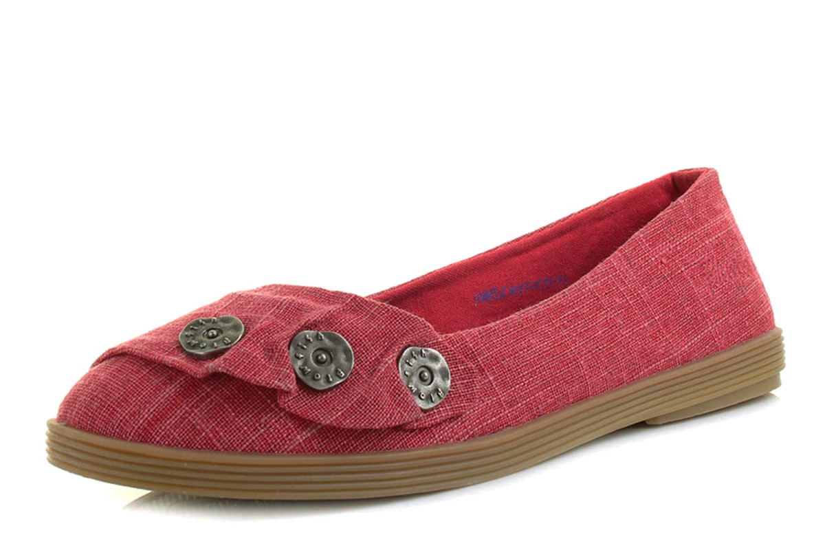 Blowfish Garden Red Cozumel Linen Denim Flat Ballet Shoes