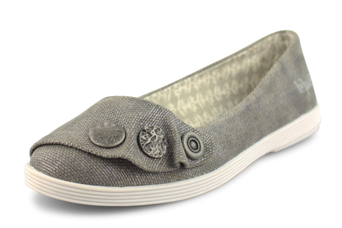 Blowfish Gayls Pewter Grey Canvas Flat Ballet Shoes