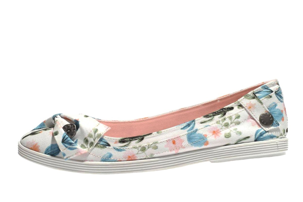 Blowfish Gimlet White Prickly Print Floral Canvas Flat Ballet Shoes