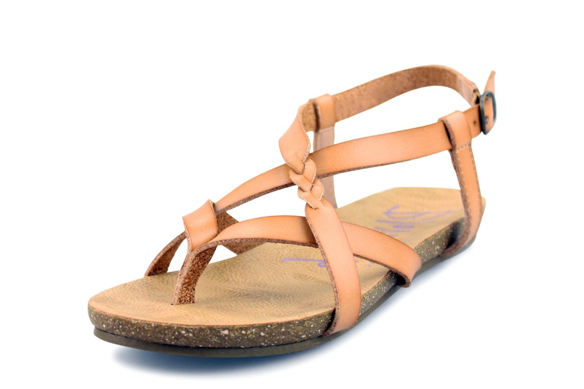 290372896b Blowfish Granola B Nude Tan Flat Strappy Sandals - KissShoe