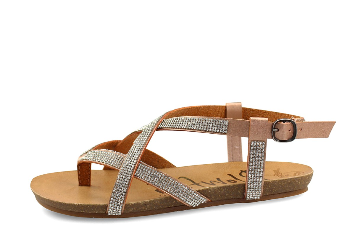 Blowfish Granola D Rose Gold Milano Diamante Rhinestone Pixel Flat Strappy Sandals