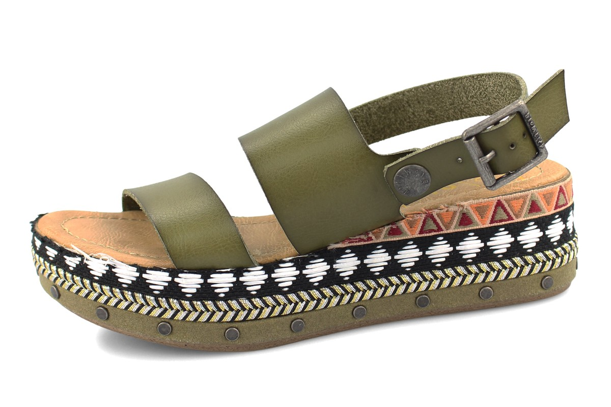 Blowfish Lola B Sage Green Tribal Studded Sling Back Platform Wedge Sandals