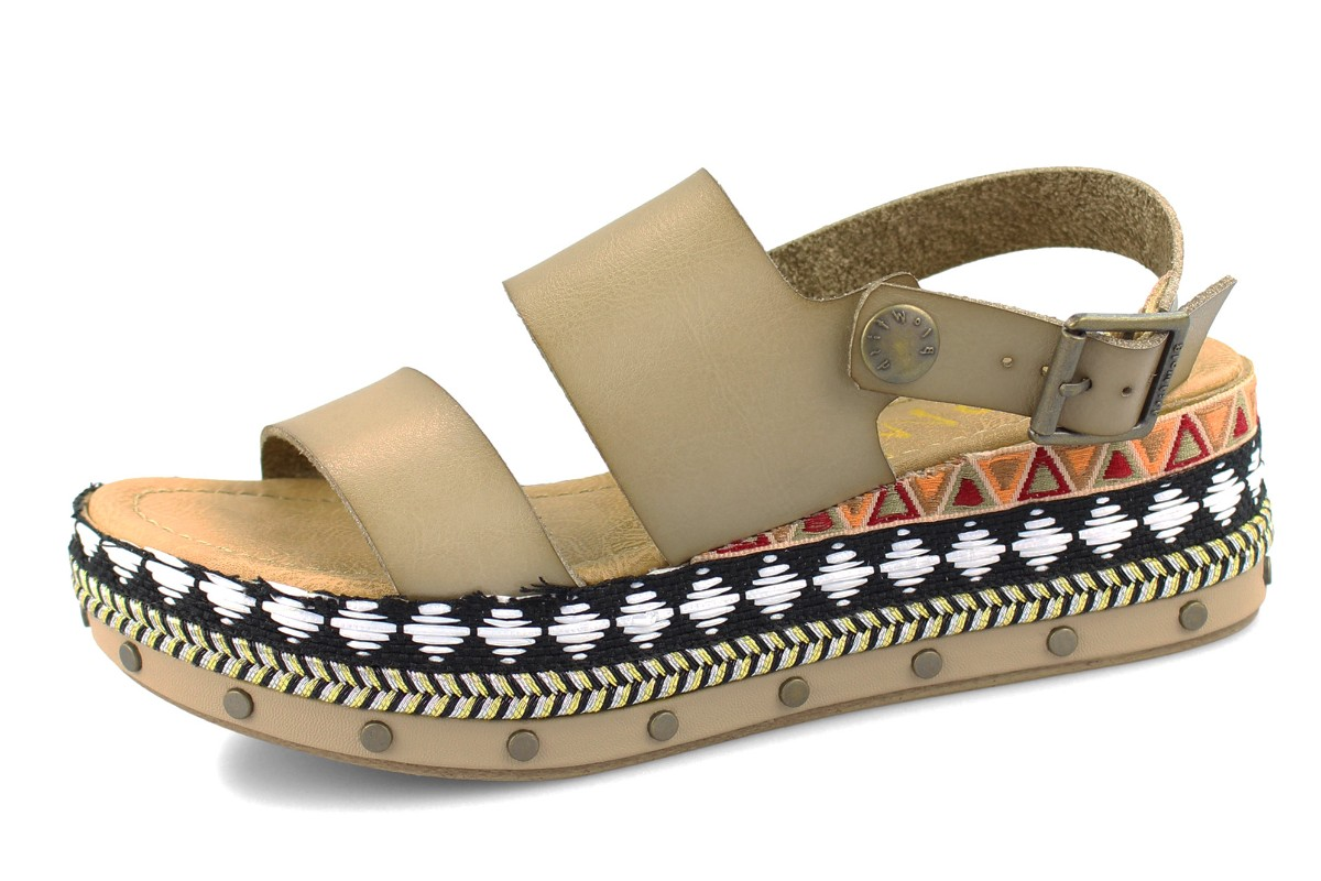 335aafe3675b Blowfish Lola B Taupe Tribal Studded Sling Back Platform Wedge Sandals -  KissShoe