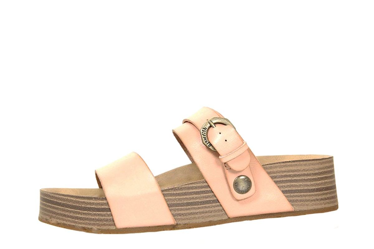 Blowfish Marge Blush Pink Faux Leather Vegan Wedge Sandals
