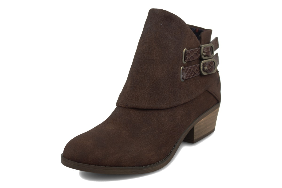 Blowfish Sistee Tobacco Brown Rustic Faux Suede Low Heel Ankle Boots