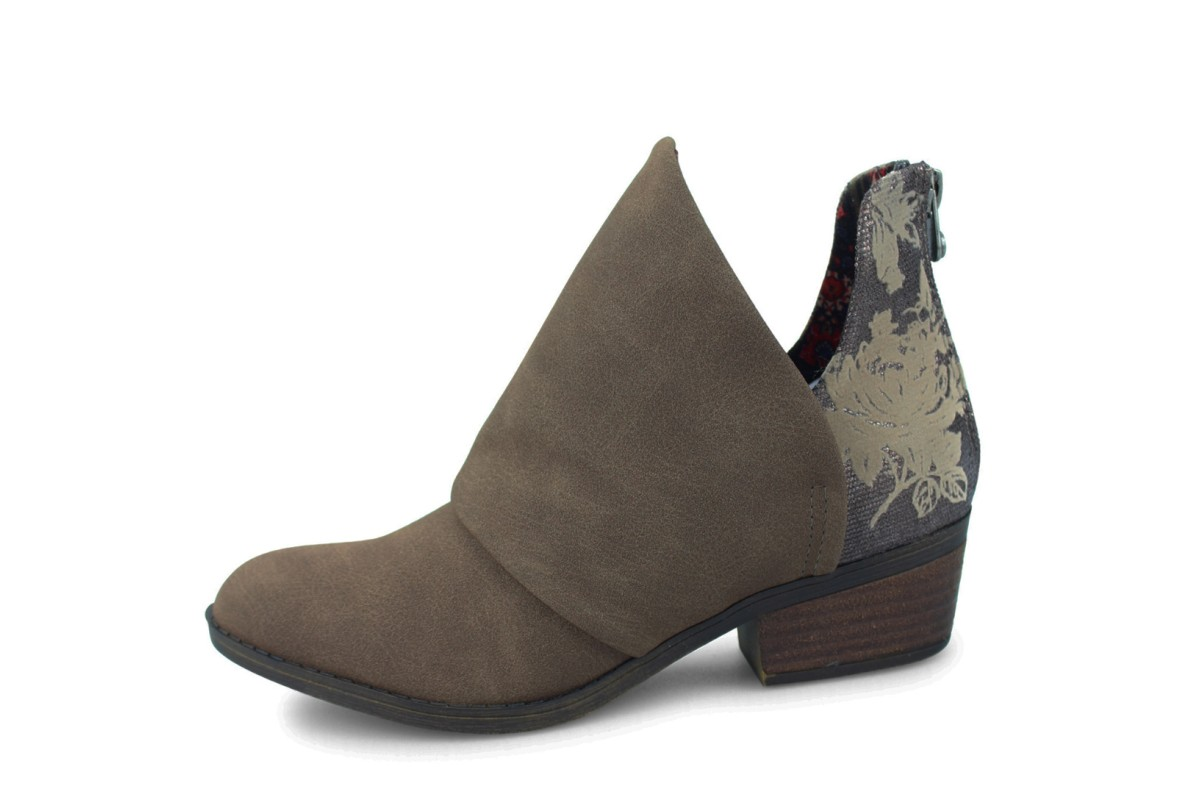 Blowfish Skirr-B Mushroom Brown Rustic Pewter Android Floral Low Heel Ankle Boots