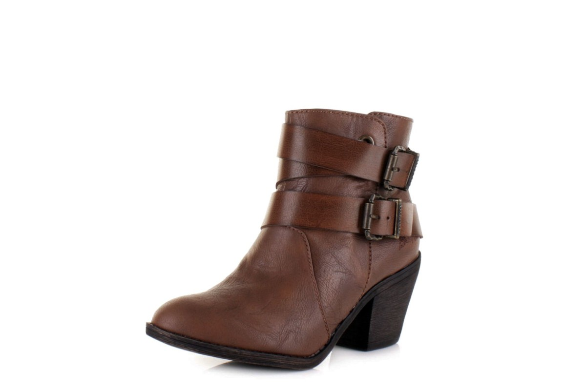Blowfish Sworn Coffee Saddle Block Heel Ankle Boots