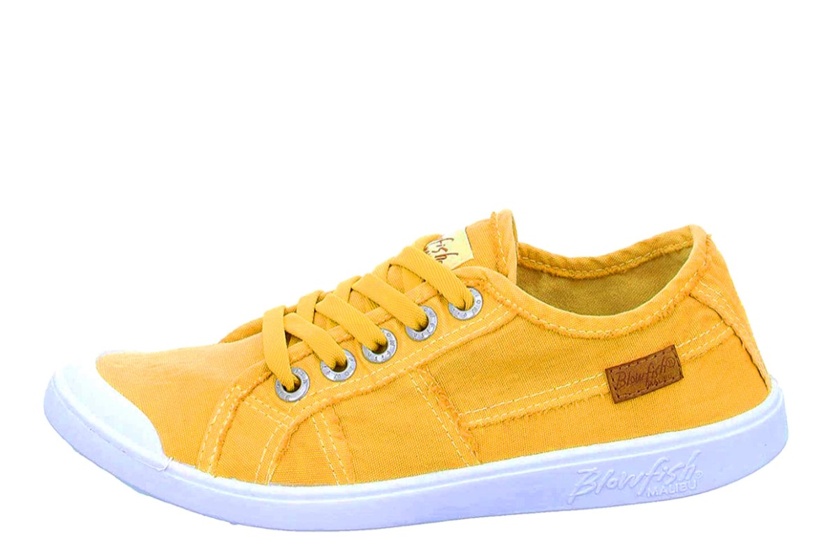 Blowfish Vesper Mustard Yellow Colour Washed Canvas Low Top Trainers