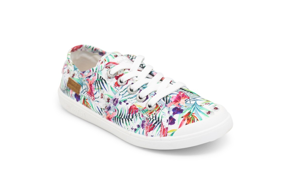 Blowfish Vesper Off White Hibiscus Floral Print Low Top Canvas Trainers