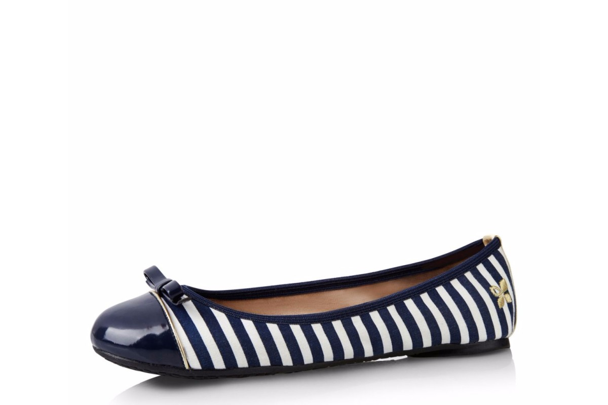 Butterfly Twists Cara Navy White Stripe Flat Ballet Shoes