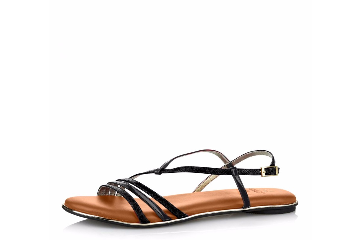 Butterfly Twists Charli Black Snake Memory Foam Flat Sandals