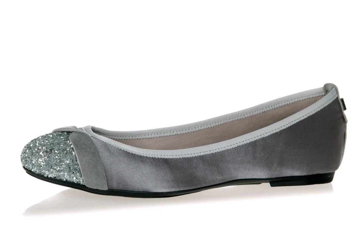 32fb147266d1 Butterfly Twists Charlotte Grey Satin Silver Glitter Memory Foam Ballet  Shoes - KissShoe