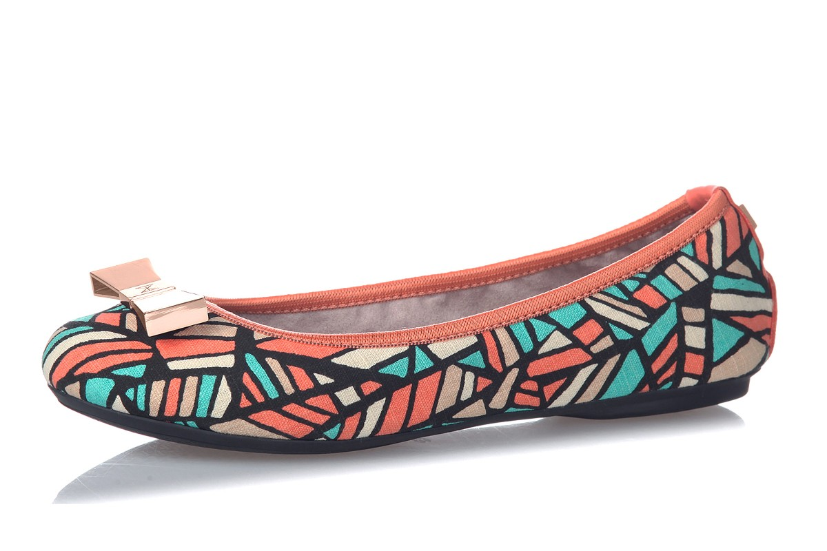 Butterfly Twists Chloe Coral Cracked Print Flat Memory Foam Ballet Shoes