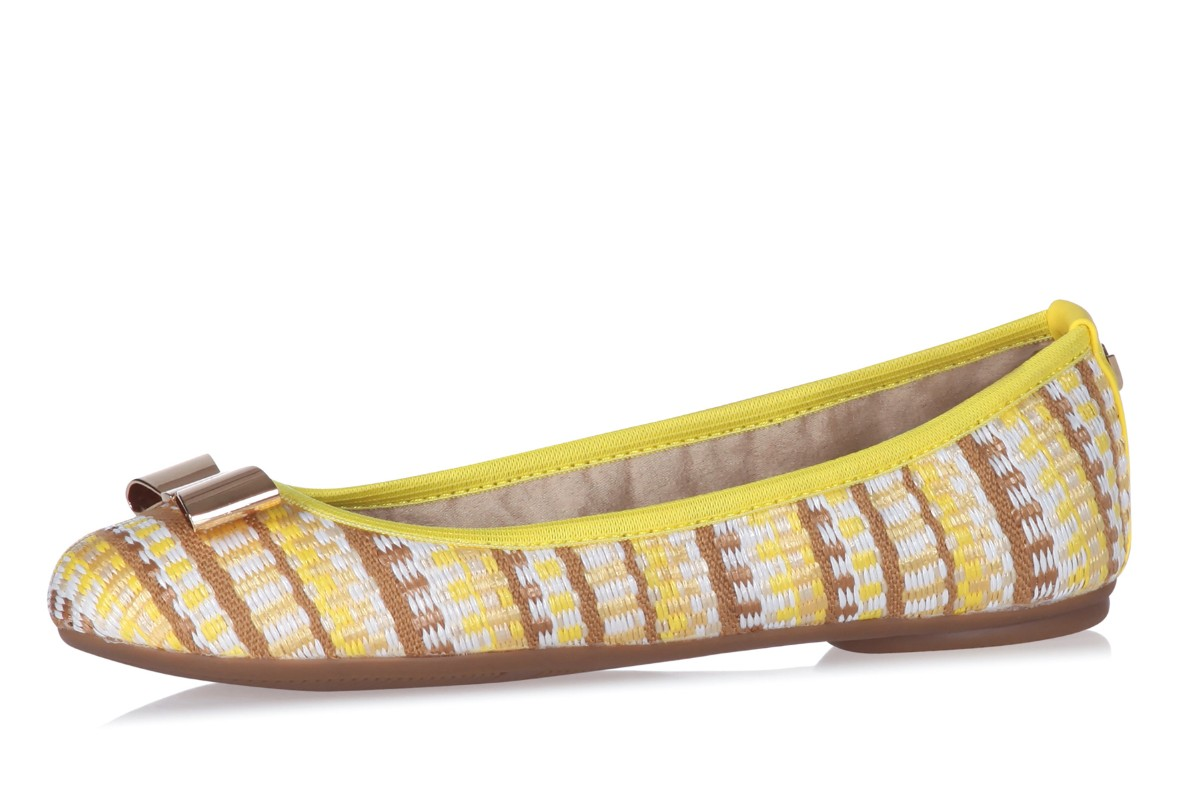 Butterfly Twists Chloe Sunflower Yellow Basketweave Flat Memory Foam Ballet Shoes