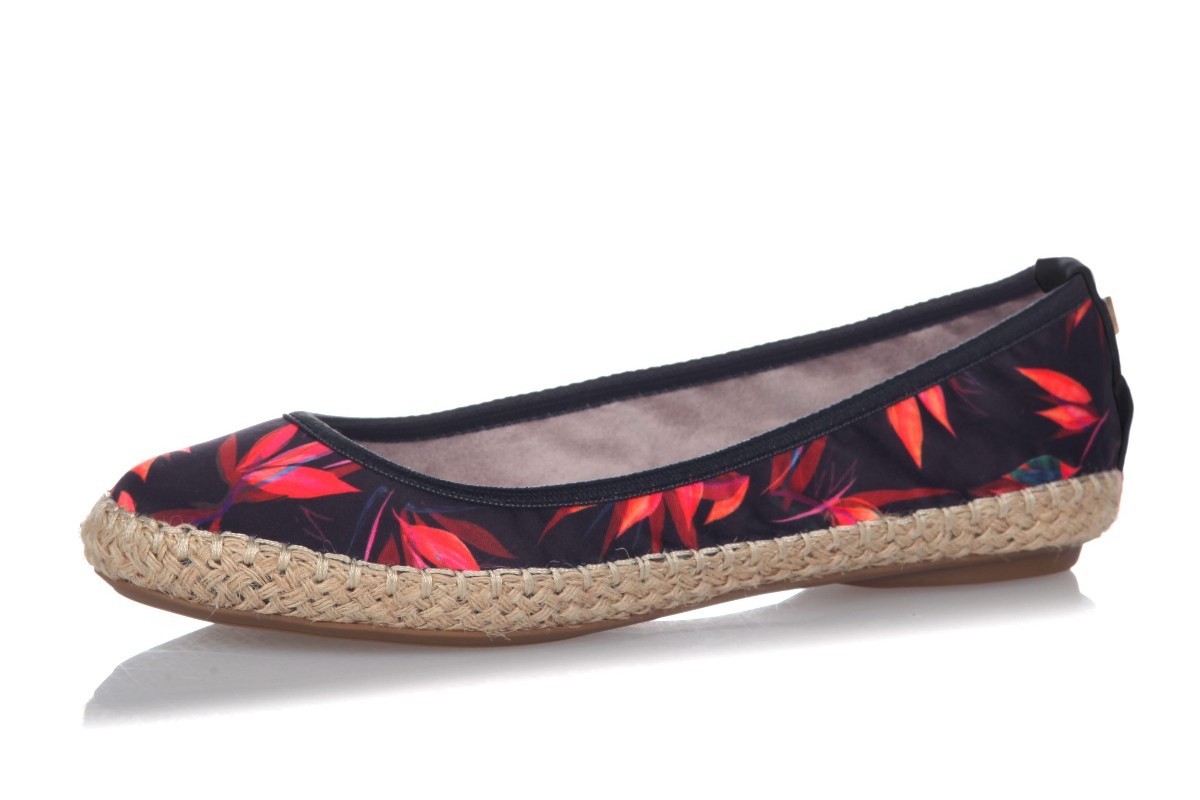 Butterfly Twists Gigi Black Birds Of Paradise Floral Flat Espadrille Ballet Shoes