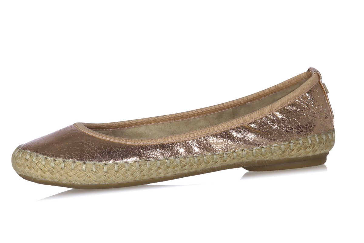 Butterfly Twists Gigi Cracked Rose Gold Metallic Flat Espadrille Ballet Shoes